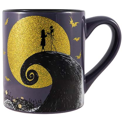 NIGHTMARE BEFORE CHRISTMAS Jack Sally Godl Glitter 14oz Mug
