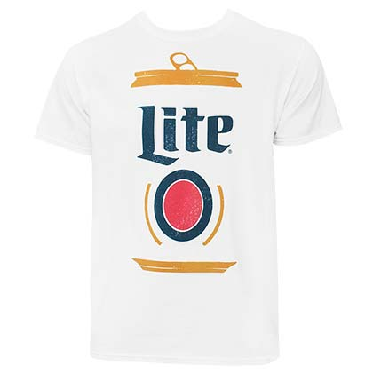 MILLER Lite Stylized Can Logo Men's White TShirt