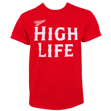 MILLER High Life Jumbo Text Logo Men's Red T-Shirt