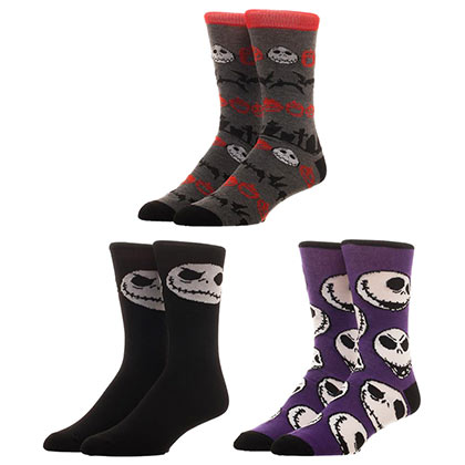 NIGHTMARE BEFORE CHRISTMAS Jack Skellington 3 Pack Men's Crew Socks