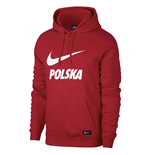 2018-2019 Poland Nike Core Hooded Top (Red)