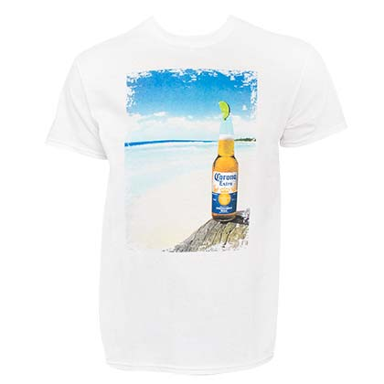 CORONA EXTRA Bottle Beach Scene Men's White T-Shirt