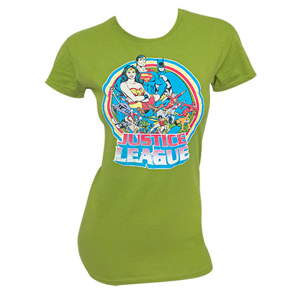JUSTICE LEAGUE Retro Circle Women's Green TShirt