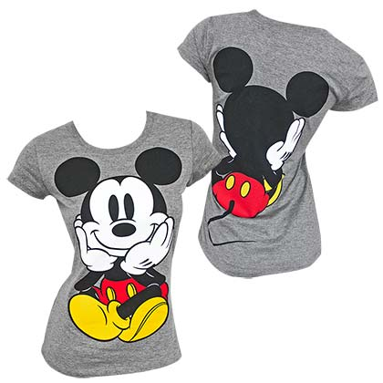 Mickey Mouse Double Sided Women's Grey TShirt