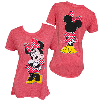 Minnie Mouse Front Back Long Women's Red TShirt
