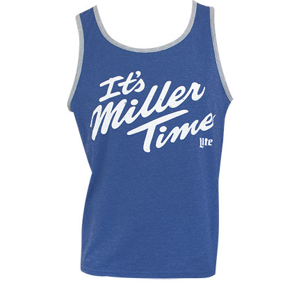 MILLER Lite It's MILLER Time Ringer Men's Blue Tank Top