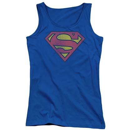 SUPERMAN Distressed Vintage Logo Women's Blue Tank Top