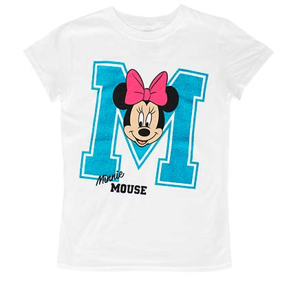 Minnie Mouse Glitter M Youth Girls 7-16 White TShirt