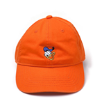 DISNEY Donald Duck Embroidered Face Stone Washed Denim Dad Cap, Orange