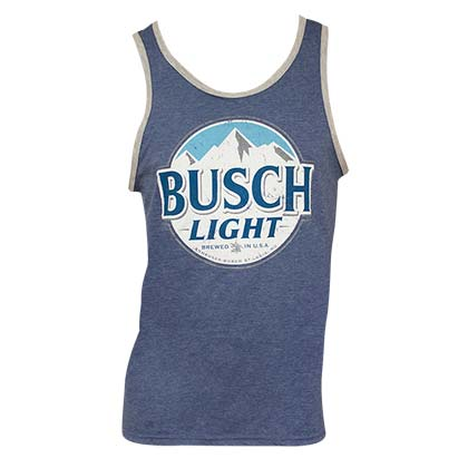 BUSCH Light Distressed Logo Mens Ringer Blue Tank Top