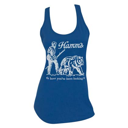 HAMM'S Beer Bear Racerback Women's Blue Tank Top Shirt