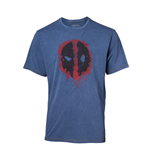 MARVEL COMICS Deadpool Men's Graffiti Mask Faux Denim T-Shirt, Small, Blue
