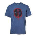 MARVEL COMICS Deadpool Male Graffiti Mask Faux Denim T-Shirt, Extra Extra Large, Blue