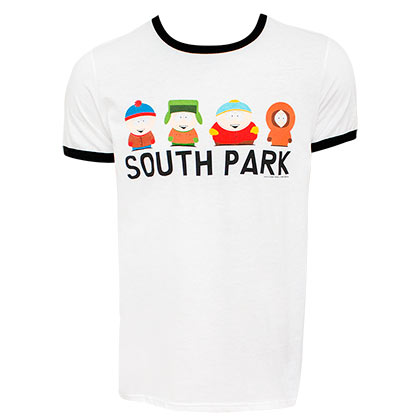 South Part Lineup Men's White Ringer T-Shirt