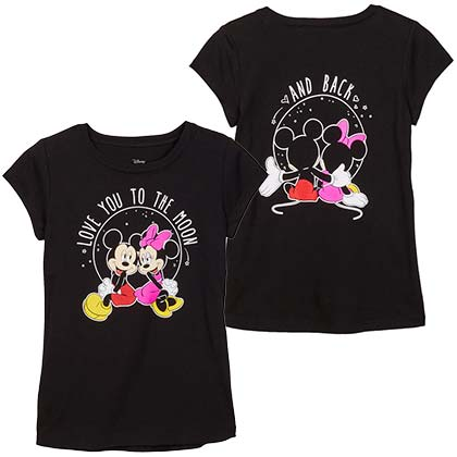 Mickey And Minnie To The Moon And Back Youth Girls Black TShirt