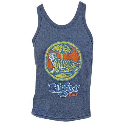 TIGER BEER Distressed Logo Denim Blue Tank Top Shirt