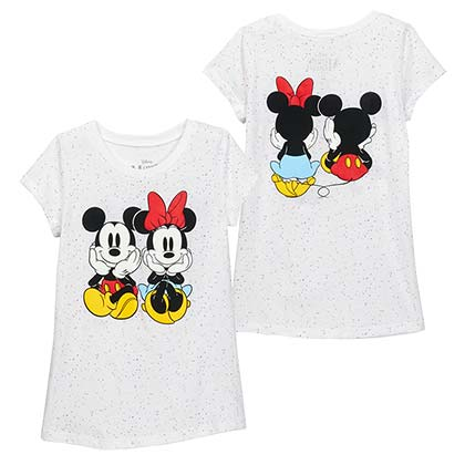 DISNEY Mickey And Minnie Mouse Confetti White Big Girls White TShirt