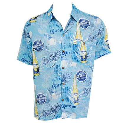 Corona Bottles Short Sleeve Button Up Men's Aloha Shirt