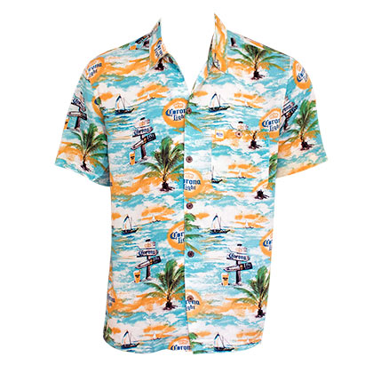 Corona Light Where's The Beach Men's Aloha Tropical Button Up Shirt