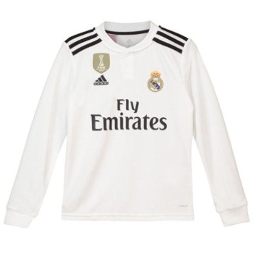 best service 71d7a c297d 2018-2019 Real Madrid Adidas Home Long Sleeve Shirt (Kids)