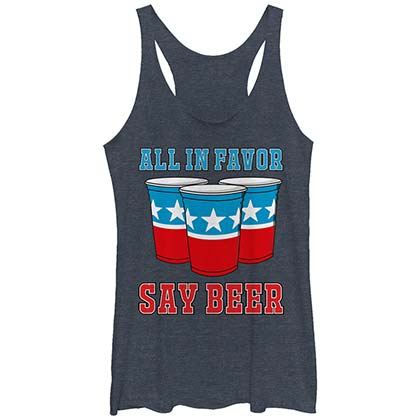 Red White and Blue All In Favor Say Beer Women's Tank Top
