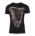 GUINNESS Male Distressed Harp Logo T-Shirt, Extra Large, Black