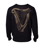 GUINNESS Male Distressed Harp Logo Sweatshirt, Extra Extra Large, Black
