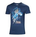 NINTENDO Legendo of Zelda: Breath of the Wild Male Link with Bow Box Art Cover T-Shirt, Extra Large, Blue