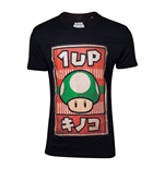 NINTENDO Super Mario Bros. Male Propaganda 1UP Mushroom Poster T-Shirt, Extra Large, Black