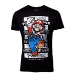 NINTENDO Super Mario Bros. Male Mario Core Kanto T-Shirt, Extra Large, Black