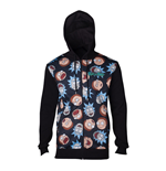 RICK AND MORTY Male Character Faces Pattern Sublimation Print Full Length Zipped Hoodie, Medium, Black