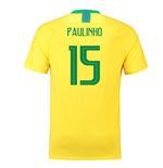 2018-2019 Brazil Home Nike Football Shirt (Paulinho 15) - Kids