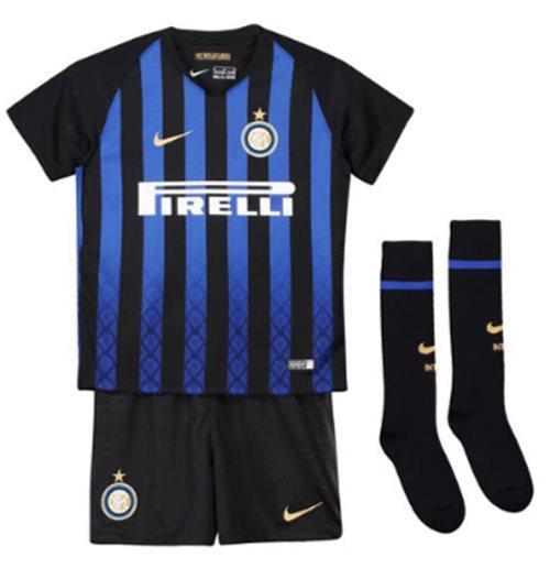 half off 68cba bb21d 2018-2019 Inter Milan Home Nike Little Boys Mini Kit