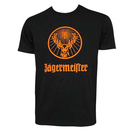 JAGERMEISTER Orange Logo Men's Black T-Shirt