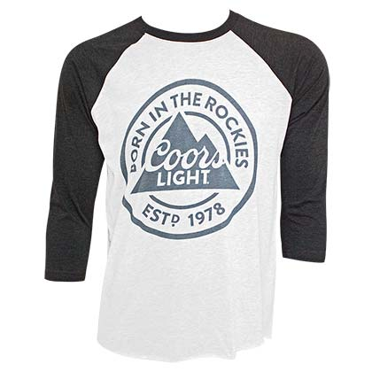 COORS Light Born In The Rockies Men's Raglan Gray TShirt