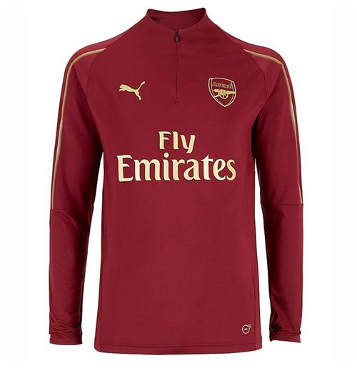 2018-2019 Arsenal Puma Half Zip Training Top (Red)