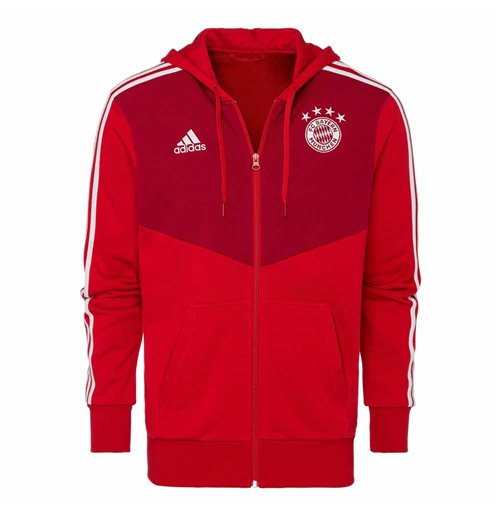2018-2019 Bayern Munich Adidas 3S Hooded Zip (Red)