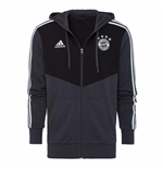 2018-2019 Bayern Munich Adidas 3S Hooded Zip (Carbon)