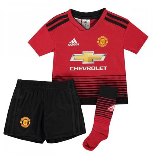 cheaper 58b5b aecfc 2018-2019 Man Utd Adidas Home Little Boys Mini Kit