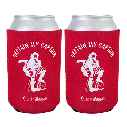 CAPTAIN MORGAN Red Beer Can Cooler Set Of 2
