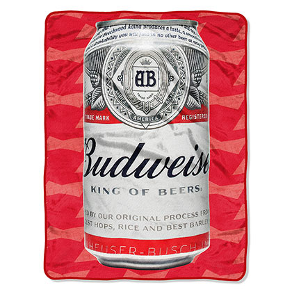 BUDWEISER Beer Cold Can 40x60 Plush Fleece Throw Blanket