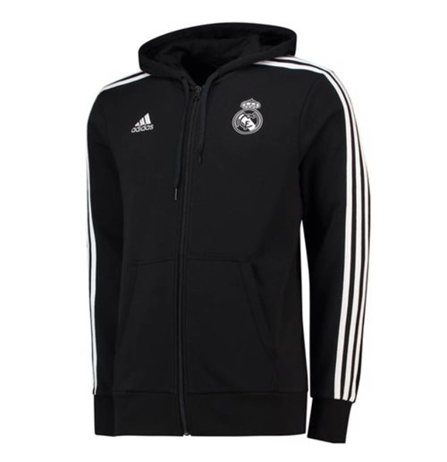 2018-2019 Real Madrid Adidas 3S Hooded Zip (Black)