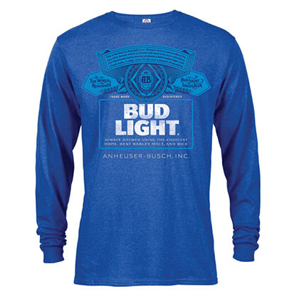 BUD LIGHT Label Long Sleeve Men's Heather Blue TShirt