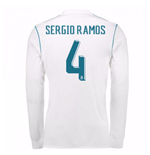 2017-18 Real Madrid Long Sleeve Home Shirt - Kids (Sergio Ramos 4)