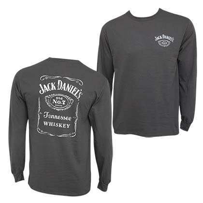 Jack Daniel's Bottle Label Long Sleeve Men's Gray TShirt