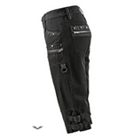 Black 3/4 pants with many rivets and zip