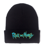 RICK AND MORTY Logo Embroidered Rollup Beanie, Black