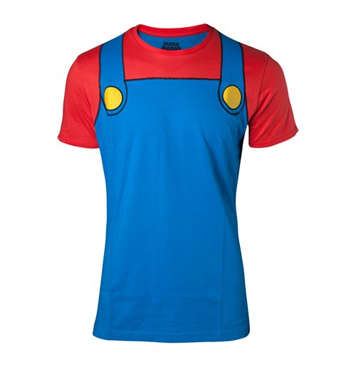NINTENDO Super Mario Bros. Mario Novelty Cosplay T-Shirt, Male, Extra Extra Large, Multi-colour
