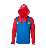 NINTENDO Super Mario Bros. Novelty Mario Full Length Zipped Hoodie, Male, Large, Multi-colour