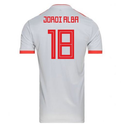 2018-2019 Spain Away Adidas Football Shirt (Jordi Alba 18) - Kids